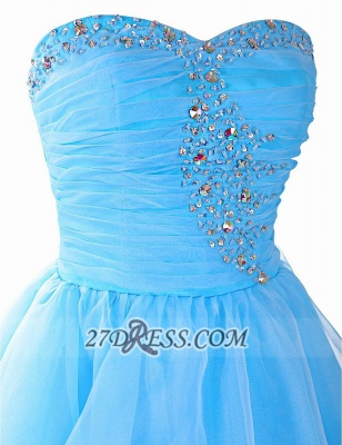 Pretty Semi-sweetheart Sleeveless Short Homecoming Dress Lace-up Crystals Organza Cocktail Gown_4