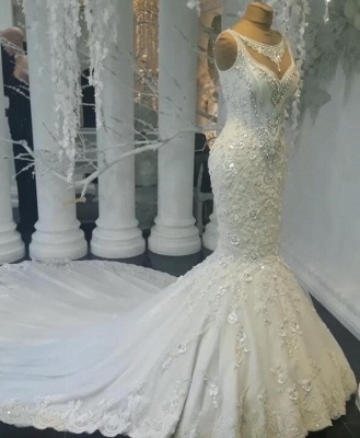 Stunning Sleeveless Crystal Wedding Dress | 2020 Mermaid Bridal Gowns On Sale BC0391_1