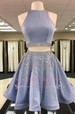 Short Crystal Two-Pieces A-line Sleeveless Gorgeous Homecoming Dress_1