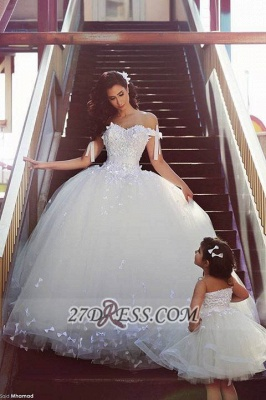 Elegant Off-shoulder Tulle Wedding Dress Ball Gown With Lace Appliques_1