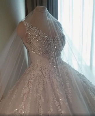 Luxury Crystals Ball Gown Wedding Dresses   V-Neck Sleeveless Lace Bridal Gowns_5