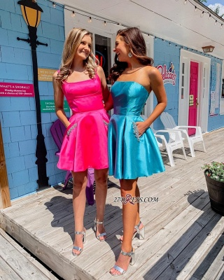 Fascinating Strapless Square A-line Beaded Homecoming Dresses_3
