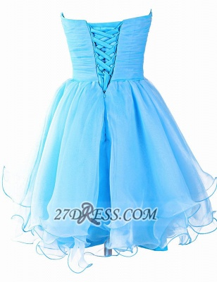 Pretty Semi-sweetheart Sleeveless Short Homecoming Dress Lace-up Crystals Organza Cocktail Gown_3