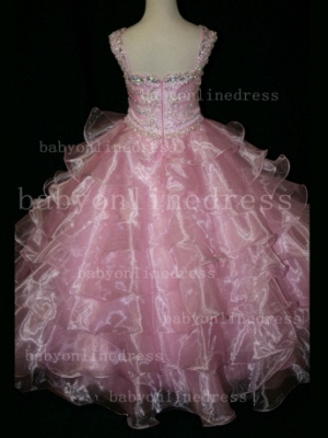 Formal Cheap Pageant Dresses for Girls with Beauty Customized 2020 Beaded Flower Girls Gowns for Sale_3
