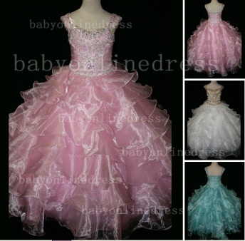 Formal Cheap Pageant Dresses for Girls with Beauty Customized 2020 Beaded Flower Girls Gowns for Sale_1