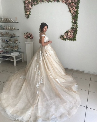 Chic Off-the-Shoulder 2020 Wedding Dresses Online | Lace Appliques Sequins Tulle Bridal Gowns_5