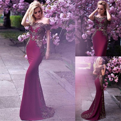 Glamorous Off-the-Shoulder 2020 Evening Dress Lace Mermaid Party Gowns On Sale_4