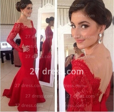 Red Sexy Long Sleeves Prom Gowns 2020 Mermaid Long Sleeve_2
