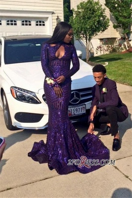 Sequined Keyhole Mermaid Sexy Long-Sleeves High-Neck 2020 Prom Dress qq0251 BK0_1