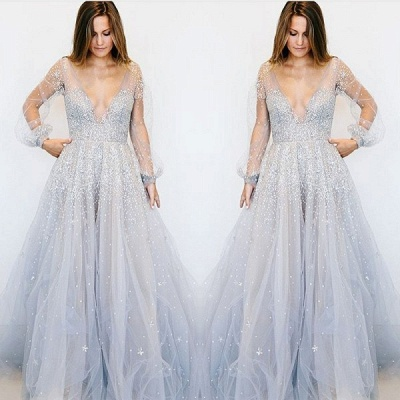 Beautiful V-Neck Illsuion Long Sleeve Evening Dress | Sequins Beads Prom Gowns On Sale_2