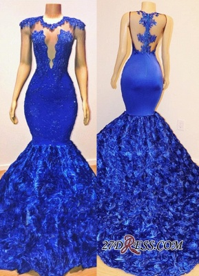 Glamorous Royal-Blue Mermaid Long Evening Gowns | 2020 Flowers Bottom Prom Dresses With lace Appliques BC1059_2