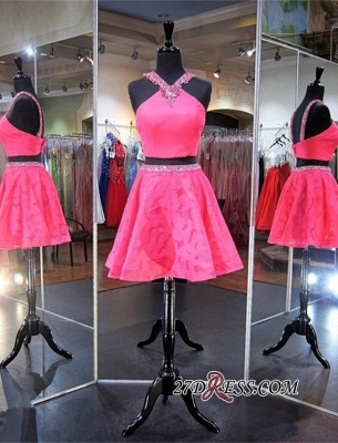 2020 Mini Sleeveless A-line Beads Newest Two-Piece Straps Homecoming Dress_1