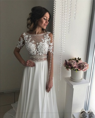 Gorgeous Long Sleeve 2020 Wedding Dress | Lace Appliques Chiffon Bridal Gowns _5