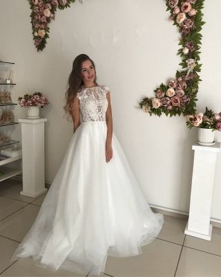 Elegant Short Sleeve Wedding Dresses | 2020 Lace Tulle Bridal Gowns_4