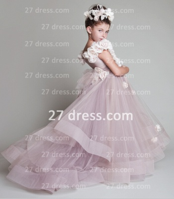 A-line Tulle Princess Flower Girl Dresses Pageant Gowns_1