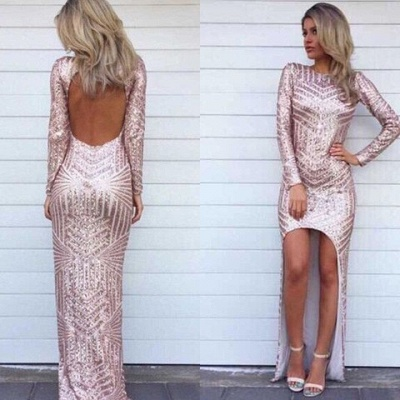 Stunning Long Sleeve Sequins Prom Dresses 2020 Open Back Hi-Lo Evening Gowns HT106_2