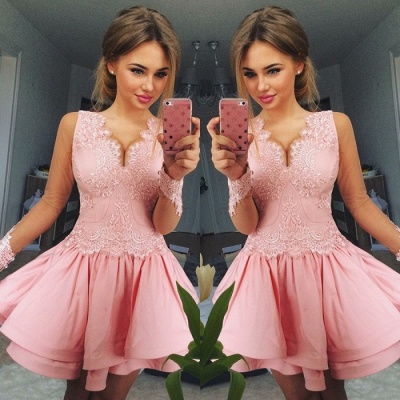 Lovely Pink Short Prom Dress | 2020 Lace Homecoming Dress_3