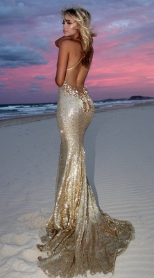 Sexy Gold V-Neck Sequins Prom Dresses | 2020 Mermaid Backless Evening Gowns_4