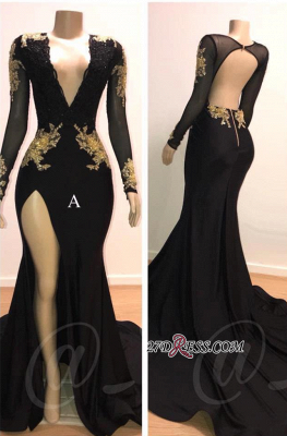 Sexy Black L Sleeve Prom Dresses | 2020 Gold Appliques Evening Gowns On Sale 1BC0583_1