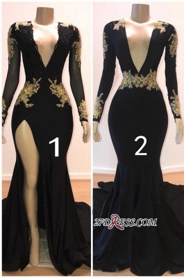 Sexy Black L Sleeve Prom Dresses | 2020 Gold Appliques Evening Gowns On Sale 1BC0583_2