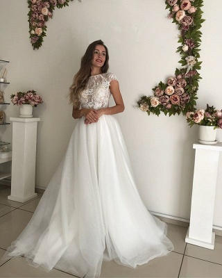 Elegant Short Sleeve Wedding Dresses | 2020 Lace Tulle Bridal Gowns_3