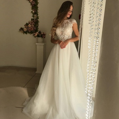 Elegant Short Sleeve Wedding Dresses | 2020 Lace Tulle Bridal Gowns_2