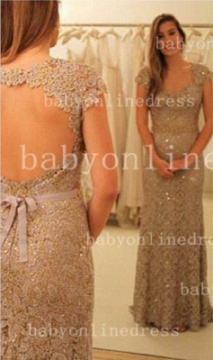 Sheath Backless Vestidos Formal Prom Dress One Shoulder Waistband Lace Prom Gowns With Sequined Beading_1