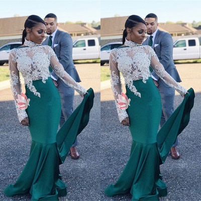 High-Neck Green Lace Prom Dress | 2020 Mermaid Long-Sleeve Evening Gowns_3