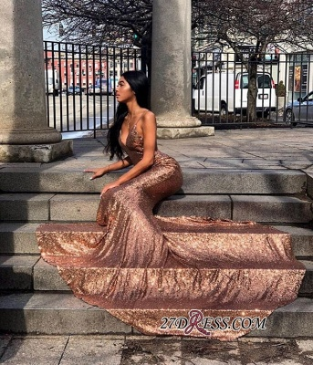 Gorgeous Spaghetti-Straps Sequins Prom Dress | Sexy V-Neck Sleeveless Mermaid Prom Gown BC1668_2