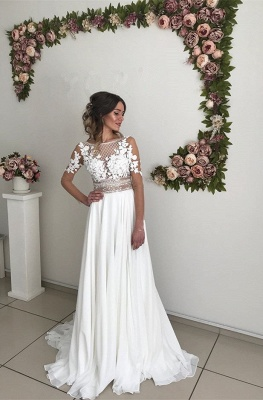 Gorgeous Long Sleeve 2020 Wedding Dress | Lace Appliques Chiffon Bridal Gowns _1