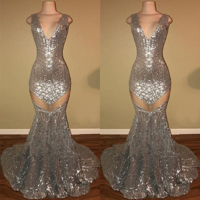 Silver Sequins 2020 Prom Dress | 2020 Mermaid V-Neck Evening Gowns_3
