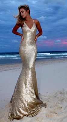 Sexy Gold V-Neck Sequins Prom Dresses | 2020 Mermaid Backless Evening Gowns_2