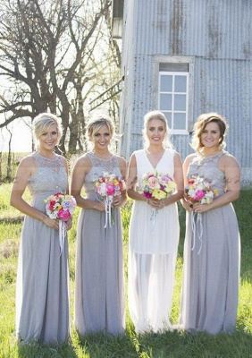 Cute Chiffon Lace Long Bridesmaid Dress | 2020 Illusion Bridesmaid Dress_4