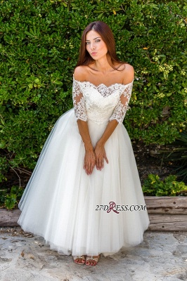 Floor-length Half-sleeves Off-the-shoulder Ball-Gown Simple Lace Wedding Dress_6