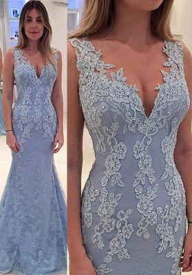 Elegant Sleeveless Mermaid 2020 Prom Dress Lace Appliques Online_1