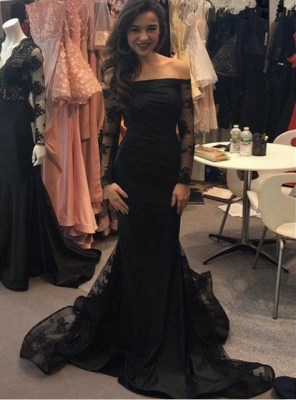 Sexy Black Mermaid Long Sleeve 2020 Evening Dress Long With Lace_1