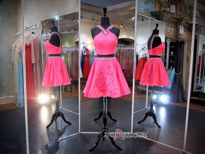 2020 Mini Sleeveless A-line Beads Newest Two-Piece Straps Homecoming Dress_3