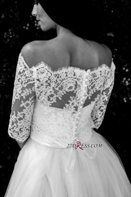 Floor-length Half-sleeves Off-the-shoulder Ball-Gown Simple Lace Wedding Dress_4