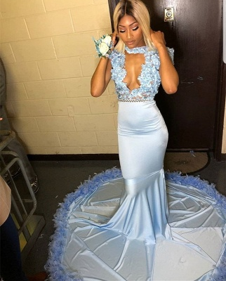 Glamorous High Neck Cap Sleeves Evening Gowns | Lace Appliques Mermaid Prom Dress With Sash BC1064_2