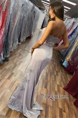 Charming Side Split Mermaid Strapless Prom DRESS_2