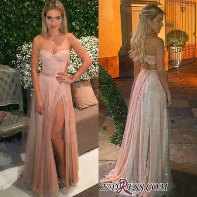 Tulle Backless Spaghetti Lace Prom Dresses Sexy Side-Split Party Dress cc0005_1