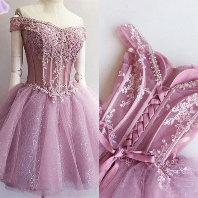 Gorgeous Off-the-Shoulder Short Homecoming Dress | 2020 Sequins Short Dress With Appliques_4