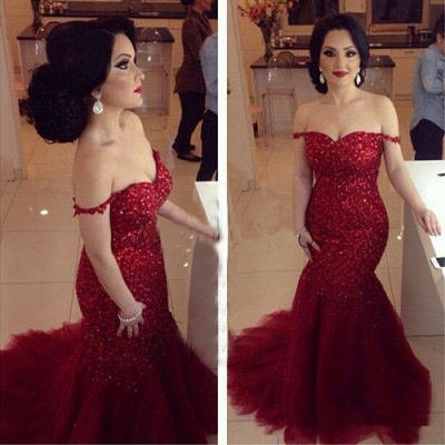 Glamorous Red Sequins Prom Dresses 2020 Off-the-shoulder Mermaid Tulle_3