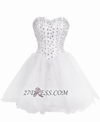 Luxurious Sweetheart Sleeveless Cocktail Dress Lace-up Crystals Short White Homecoming Gown BA8930_1