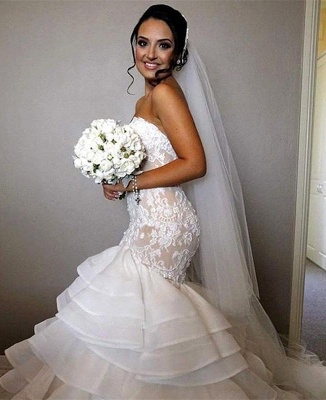 Stunning Sweetheart Mermaid Lace 2020 Wedding Dress Ruffles Layered_1