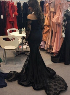 Sexy Black Mermaid Long Sleeve 2020 Evening Dress Long With Lace_3
