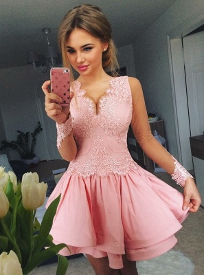 Lovely Pink Short Prom Dress | 2020 Lace Homecoming Dress_1