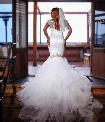 Mermaid Tulle Beads Appliques Wedding Dress Exquisite Short Sleeves Bridal Dresses_2