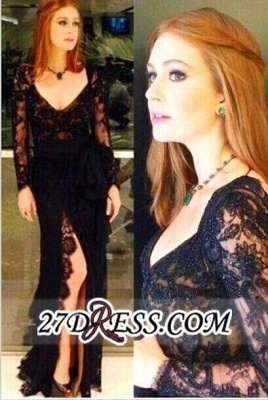 Long-Sleeves Sexy Side-Slit Black Open Back Lace Evening Gowns_2