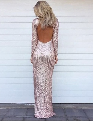 Stunning Long Sleeve Sequins Prom Dresses 2020 Open Back Hi-Lo Evening Gowns HT106_1